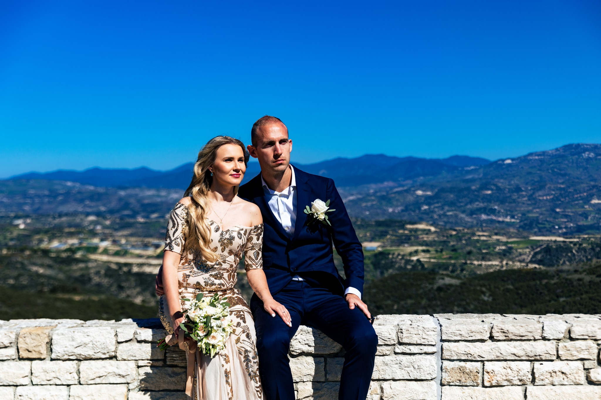 Bride and Groom Paphos Cyprus Wedding Minthis Hills