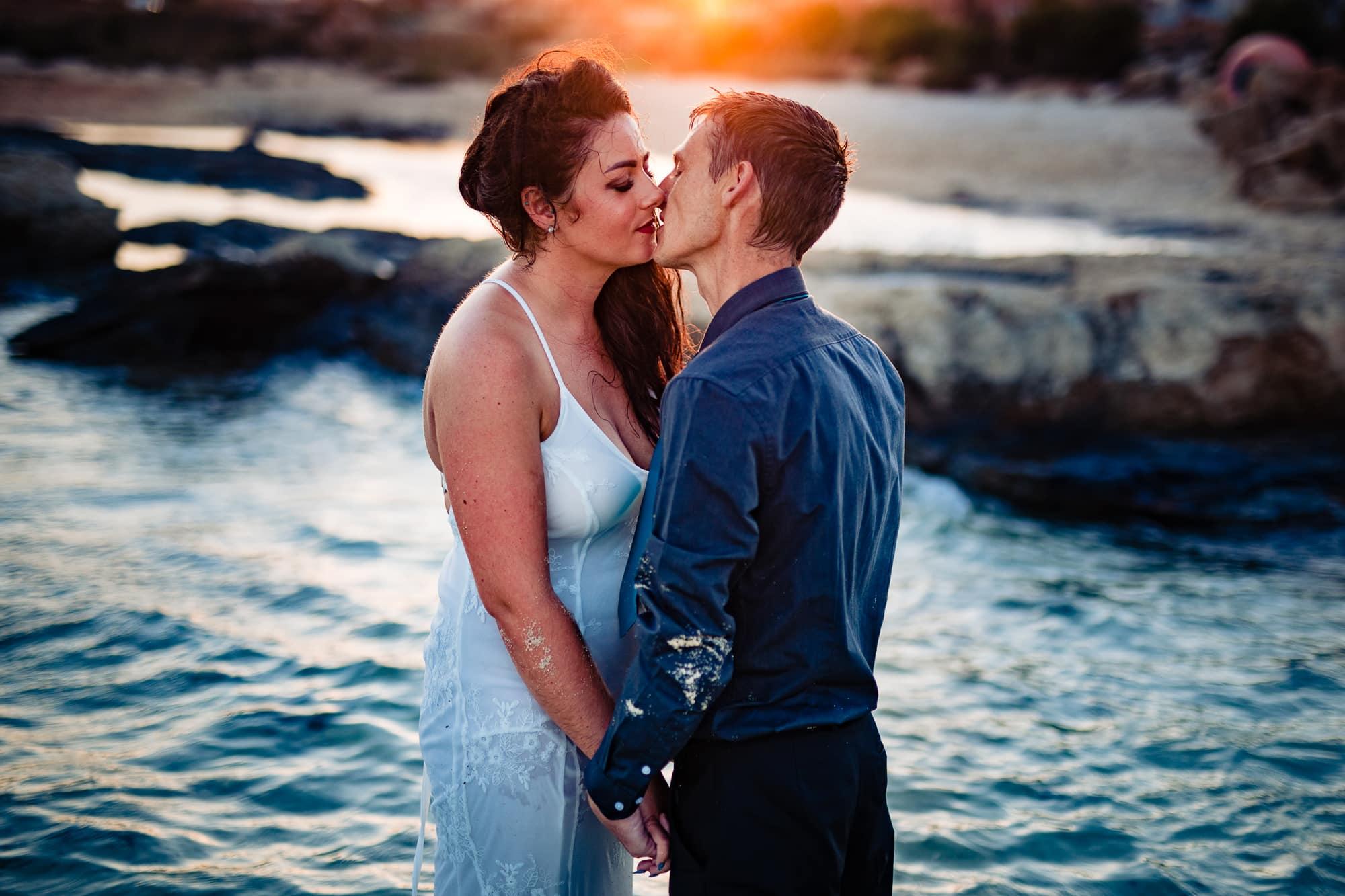 Beach Cyprus Bride and Groom Wedding Beach Trash the Dress